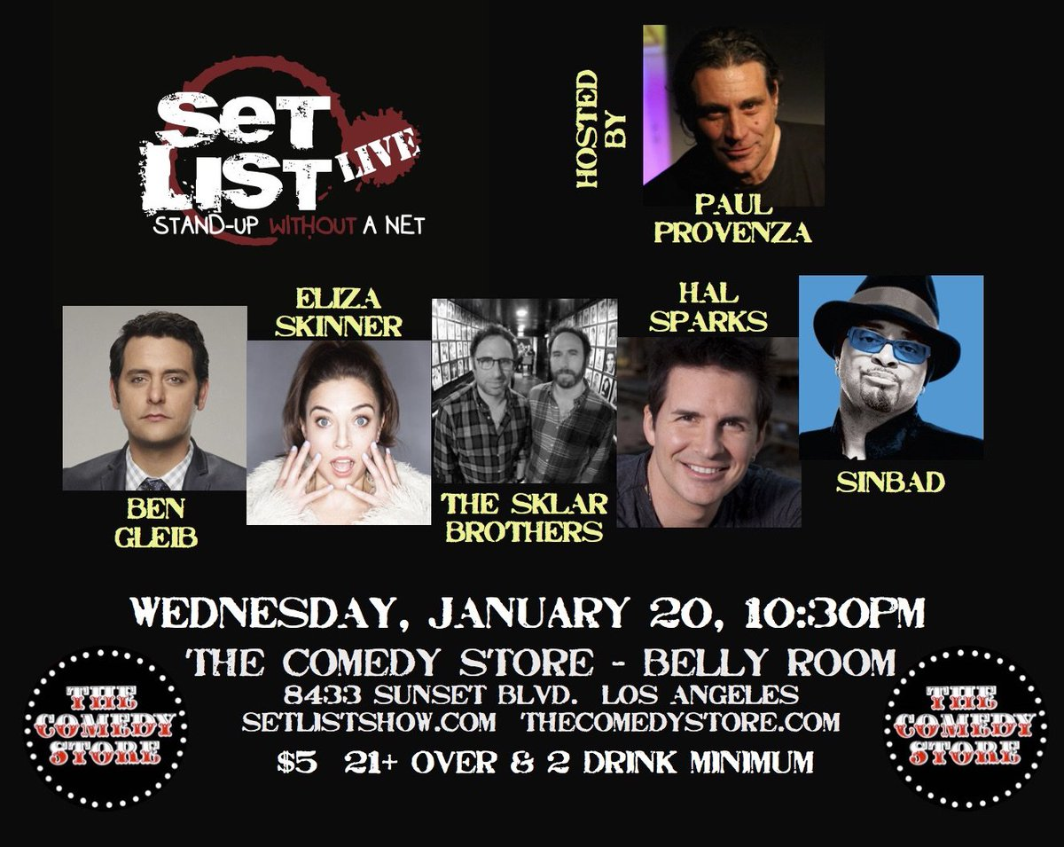 #Hollywood - A rare Wednesday Set List show! 10:30pm Belly Room @TheComedyStore https://t.co/qrUi3yYcSm https://t.co/0qG3w2yHLL