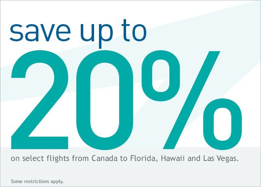 Promo code! Save on select flights from CAN to HI, FL & Vegas. Book by 1/19/16 (21:59 MT).