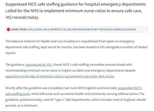Exclusive: NICE experts called for minimum staff ratios in leaked guidance https://t.co/76OS2r1X0G https://t.co/PPABCiwscs