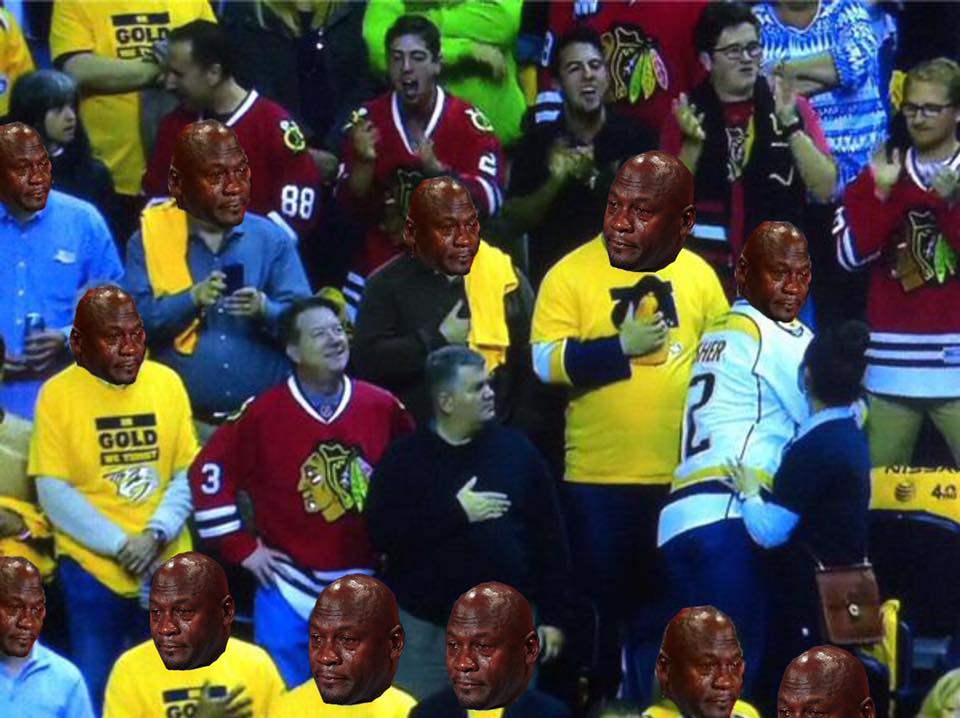 Maybe my new personal favorite #CryingMJ pic. Sorry, Nashville...  #Blackhawks https://t.co/jFQ9nlzDec