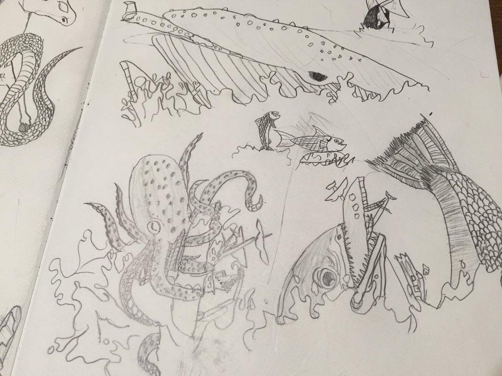 息子(小2)の最近のテーマは人間に復讐する動物たち。 https://t.co/XZUgULi3Un