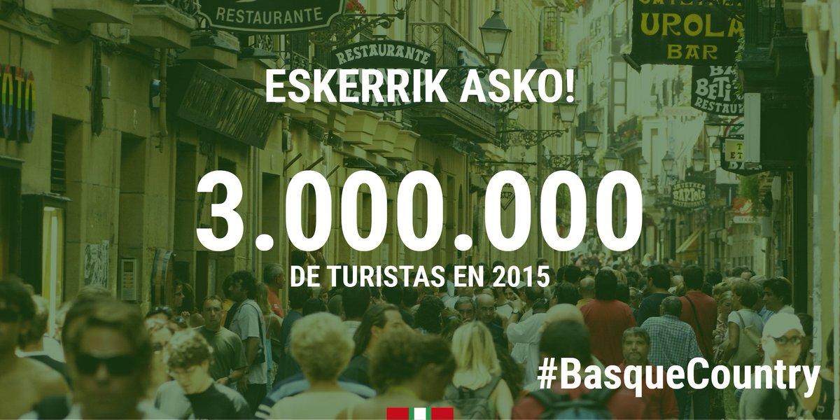 ESKERRIK ASKO! Juntos hemos conseguido que 3.000.000 de turistas visiten #Euskadi. Aurrera! #BasqueCountry https://t.co/4a6qEo49vj