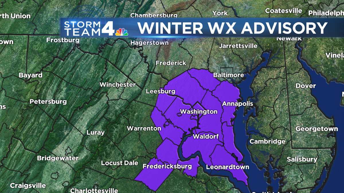 Winter weather advisory for TONIGHT for the greater #DC area for a coating of #snow possible @nbcwashington @wtop https://t.co/R8vV0Jz8KQ