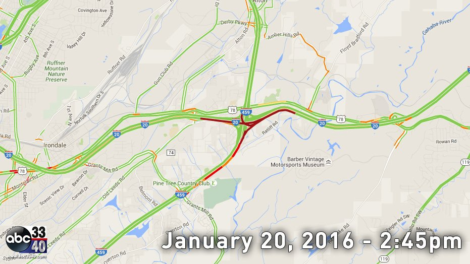 Traffic map showing delays due to accident on i20. - scoopnest.com