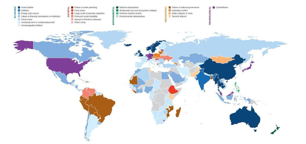 Este mapa explica los principales riesgos por países a la hora de hacer negocios  https://t.co/54jzFhUz4Y #WEF16 https://t.co/qxfqsi2vX1