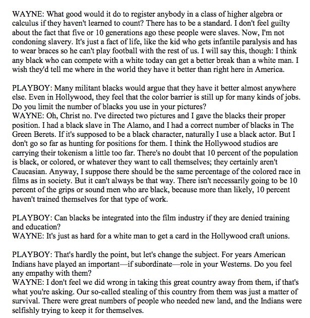 If anything, all the rumors I'd heard of John Wayne's racism as a kid were vastly underplayed. Wow. https://t.co/dYTznWIS9r