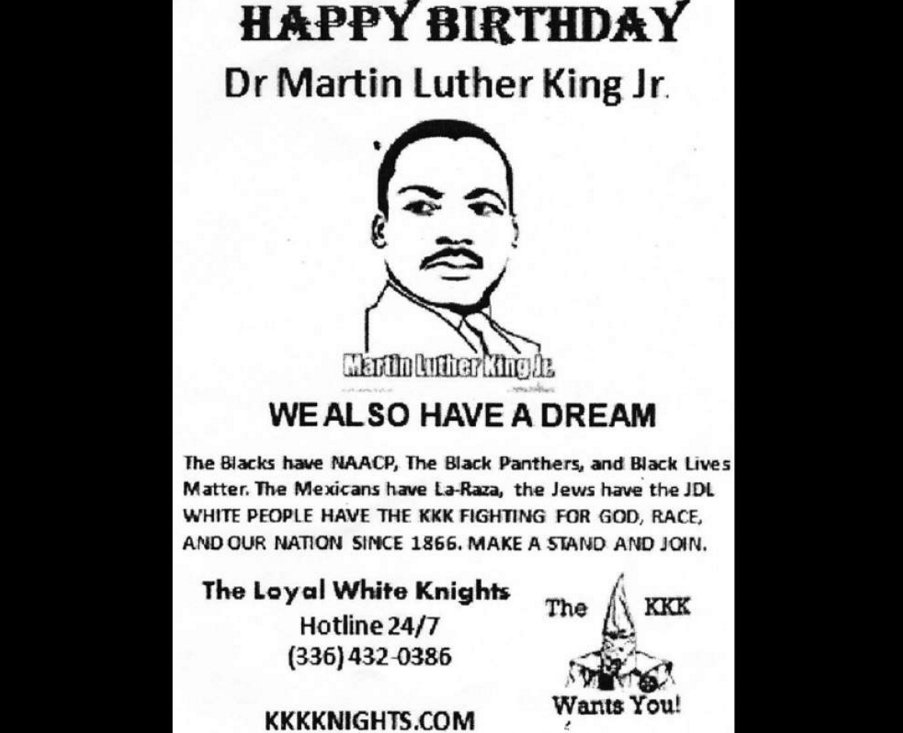 KKK recruiting fliers saying 'we also have a dream' hit north shore driveways on MLK Day. https://t.co/XYC27WzXWj https://t.co/cr9uOuejq3
