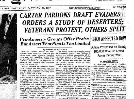 Image result for newspaper article president carter pardons vietnam draft dodgers
