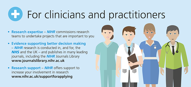 Clinicians and practitioners, the #NIHR commissions research that's important to you: https://t.co/TKM5GuFy5b https://t.co/PakC6kEWbG
