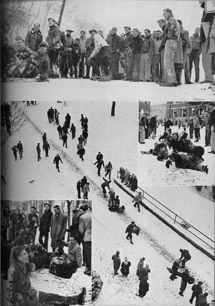 #Bobcats sledding down Jeff Hill in 1950 (via Athena Yearbook) #tbt #OhioUniversity https://t.co/Sp6NaOHMS5