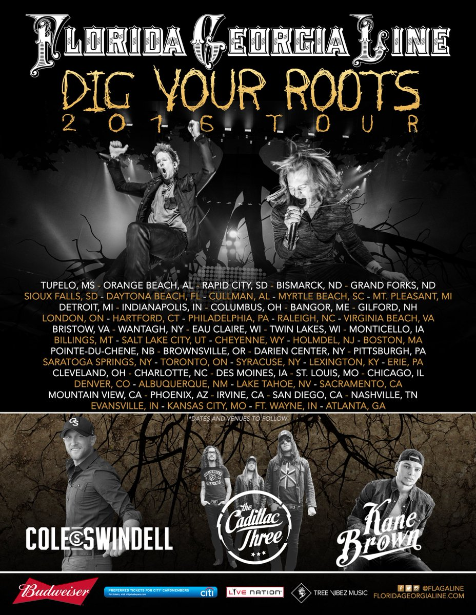 """""""Dig Your Roots"""" Tour 2016!!! New tour, music, memories, and our friends @coleswindell @thecadillac3 @kanebrown https://t.co/WN4Sl8AwBr"""
