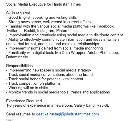 If you know anyone who would like to work at @htTweets, ping me. Have vacancies (2) for my social media team #jobs https://t.co/KNAVMf4nEz