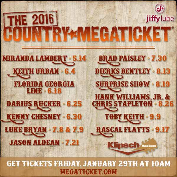 The 2016 Jiffy Lube Country Megaticket! Who are you excited to see?? https://t.co/NXgAUSBKF0