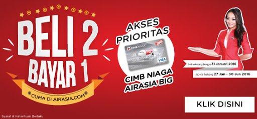 Pemegang Kartu Kredit CIMB Niaga AirAsia BIG, memiliki prioritas dapatkan promo B217AN di