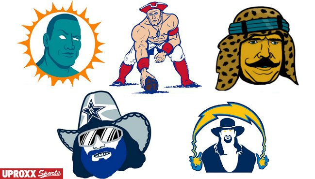 MUST-SEE: All 32 #NFL logos as #WWE pro wrestlers, feat. @JohnCena, @the_ironshiek & more