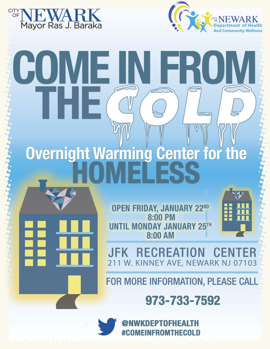 Warming Station at the JFK Recreation Center tonight. The center is located at 211 West Kinney Avenue. https://t.co/lSmnvrTuVG