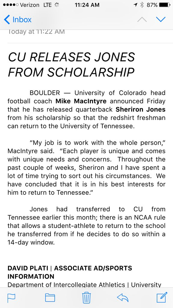 #Buffs have released QB Sheriron Jones from his scholarship, allowing  him to return to Tennessee...release from CU: https://t.co/XqVf6FoKa6