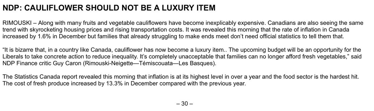 This NDP release about cauliflower is utter nonsense. IT'S EXPENSIVE BECAUSE THERE WAS A DROUGHT! Seriously! https://t.co/hWJK4GRB6U