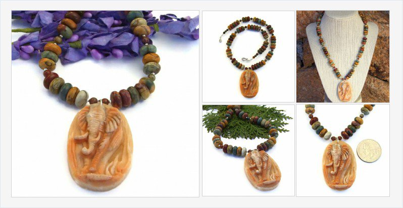 The carved red malachite #elephant pendant on this #necklace is exquisite! #Indiemade https://t.co/bZGiFgh0HC https://t.co/FgJY21dSCU