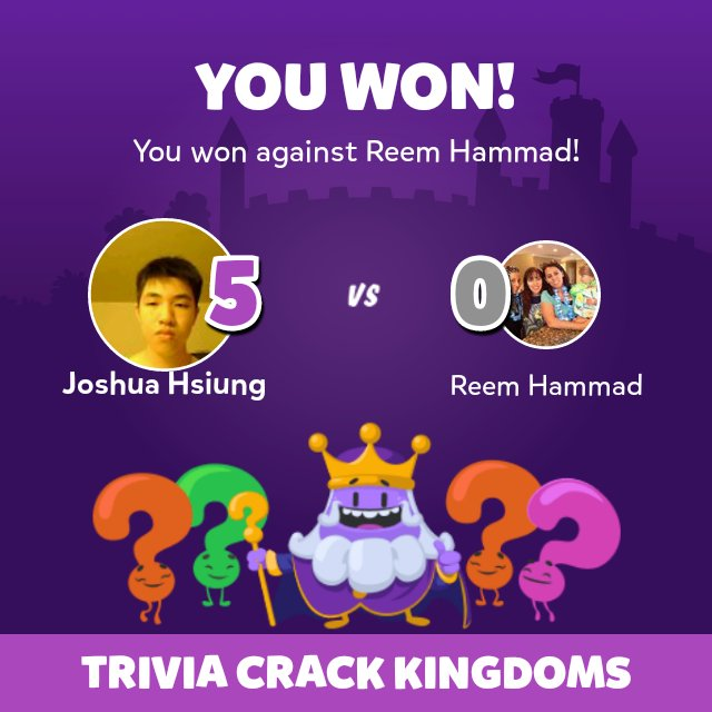 I just won a game against Reem Hammad in Trivia Crack Kingdoms! - https://t.co/JRq2jiUJKv https://t.co/HzWlL00ygo
