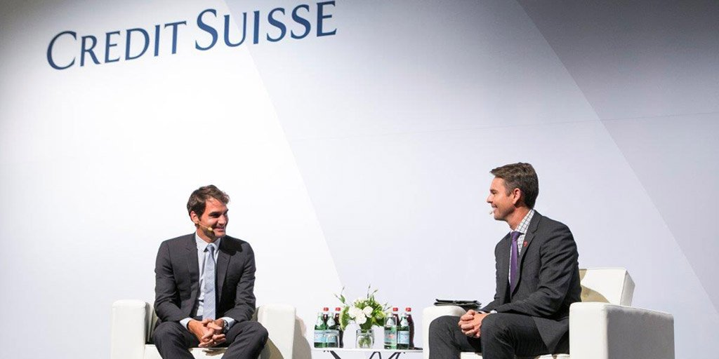 Swiss legend @RogerFederer takes part in a Q&A with @ToddWoodbridge at an evening hosted by @CreditSuisse https://t.co/SvWOeGRSLK