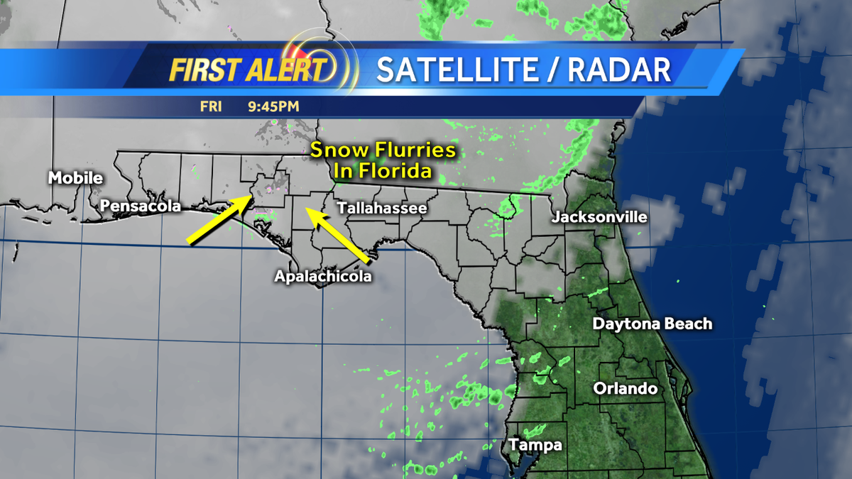 We have Snow Flurries in #Florida right now. Freeze Watches also up for Sunday! #WESHwx https://t.co/PJMOY68Ley