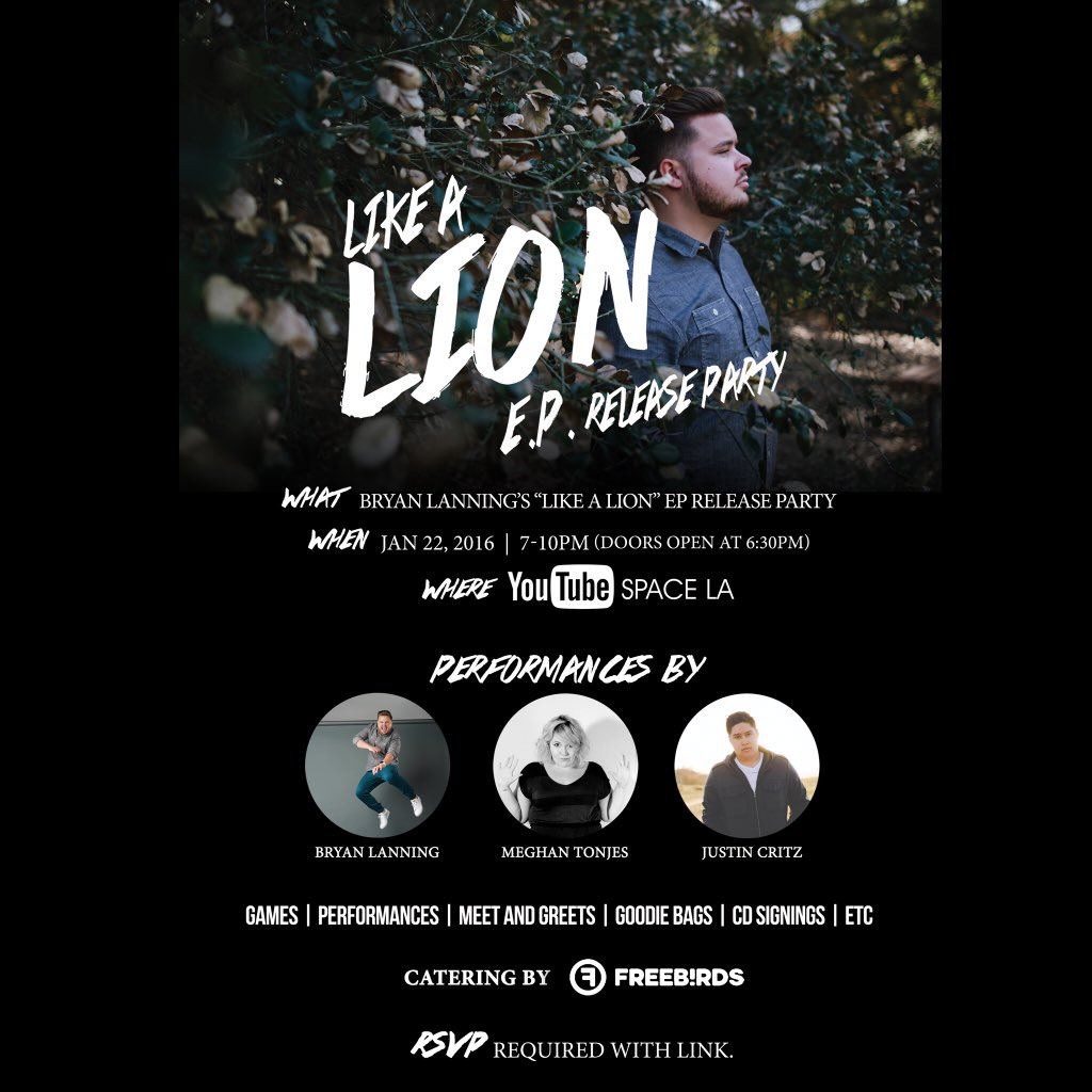 Follow FreebirdsWB on snapchat for exclusive footage of @bryanlanning's #LikeALionEP release party tonight! https://t.co/aqWzE81p9T
