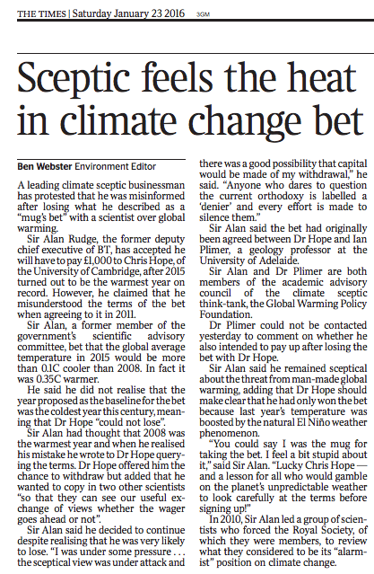 """""""I feel a bit stupid"""": GWPF's climate sceptic advisor laughably says he didn't understand his losing bet w/ @cwhope https://t.co/U4N18iYXJs"""