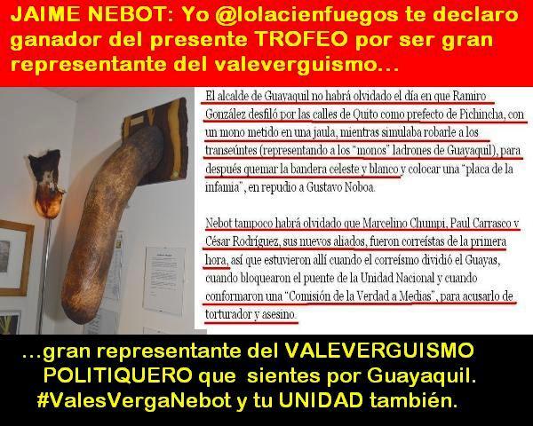 La @lolacienfuegos otorga el PRESENTE TROFEO a @jaimenebotsaadi x su VALEVERGUISMO con @RamiroGonzalezJ y Guayaquil https://t.co/agmfTIc7JZ