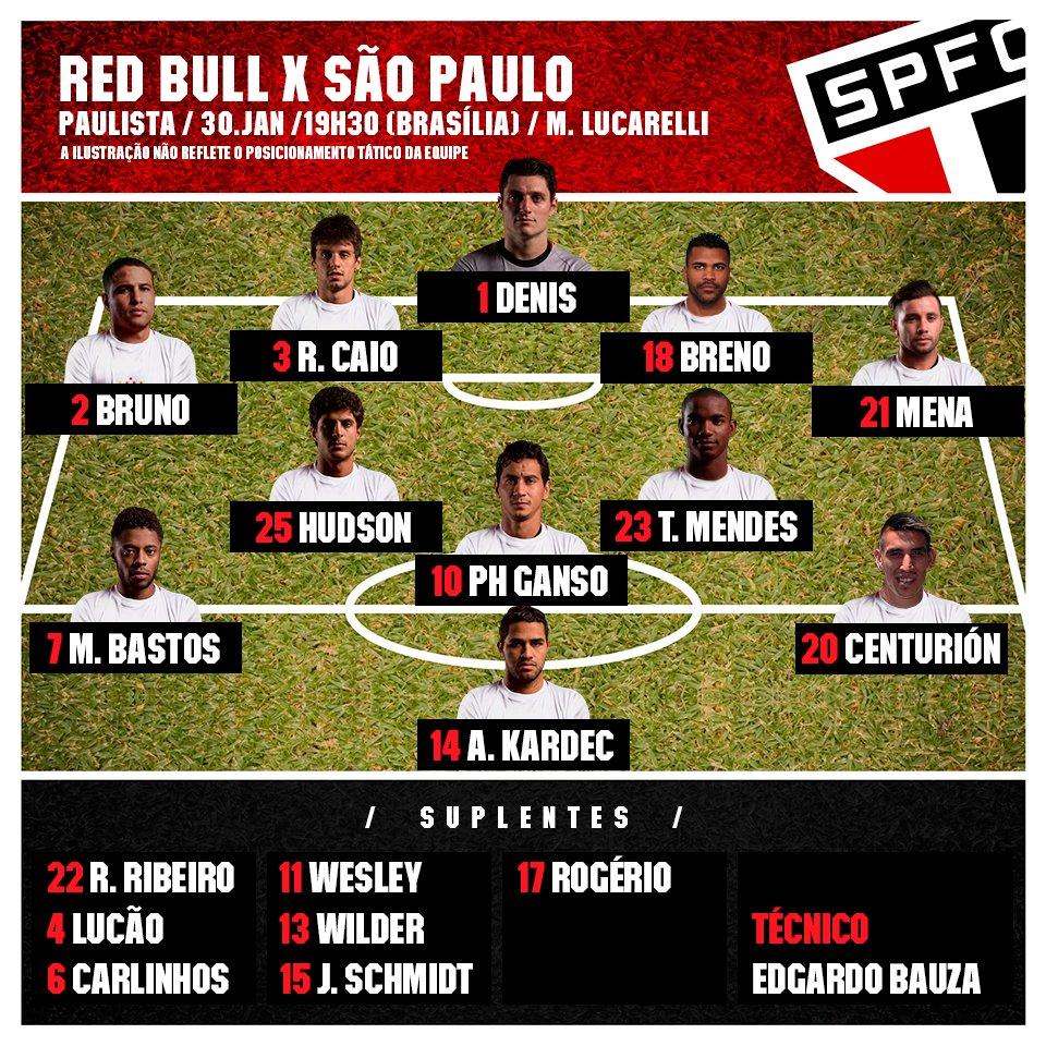 RT @SaoPauloFC: VALENDO!  O @SaoPauloFC enfrenta o @RedBullBR na abertura do Paulistão, às 19h30  Time escalado! #VamosSãoPaulo! https://t.…