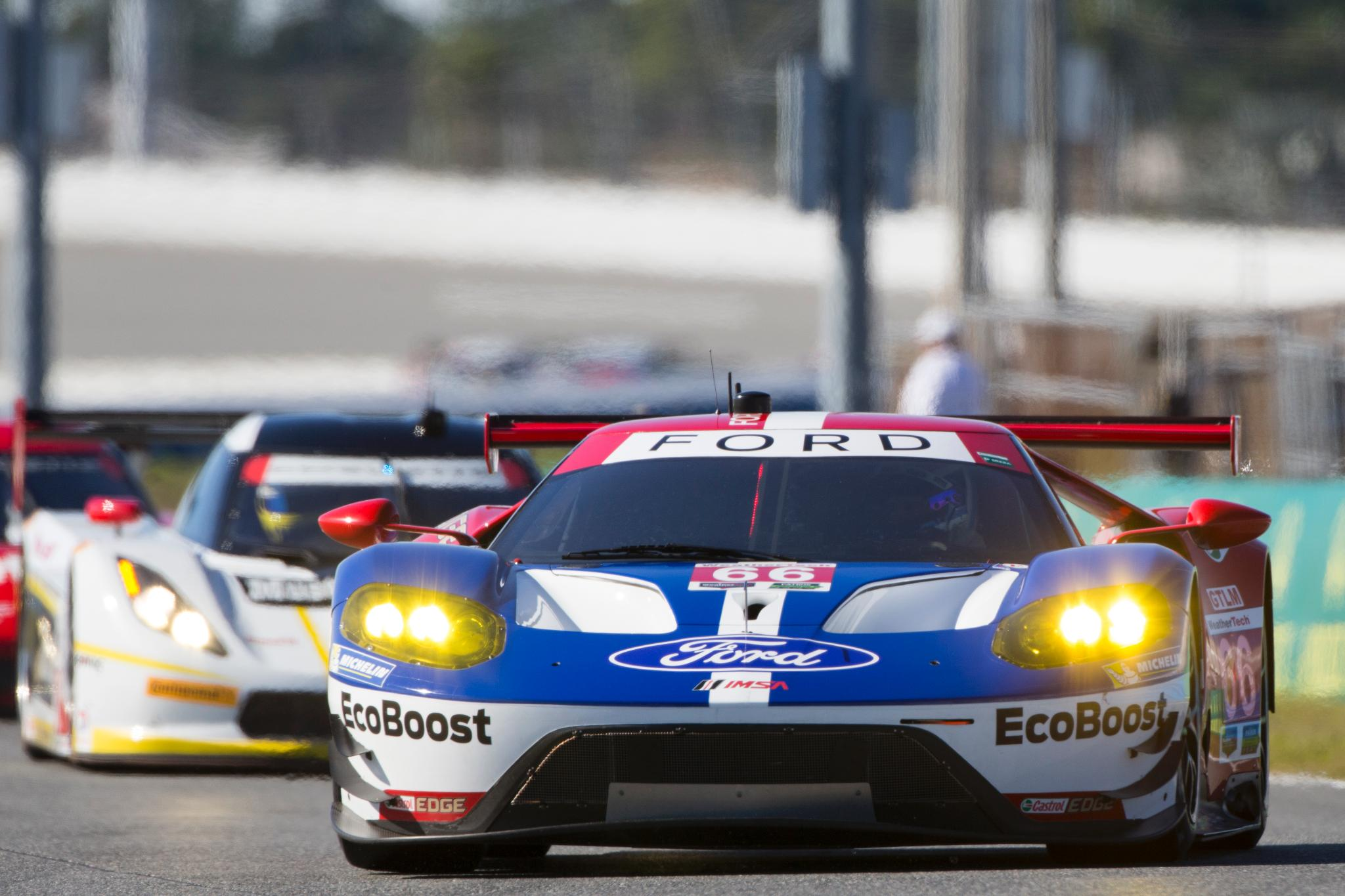 One hour into the #Rolex24! In class position: #02EcoBoost P4, #01EcoBoost P9, #66FordGT P3, #67FordGT P11. https://t.co/dc35I9gRqd