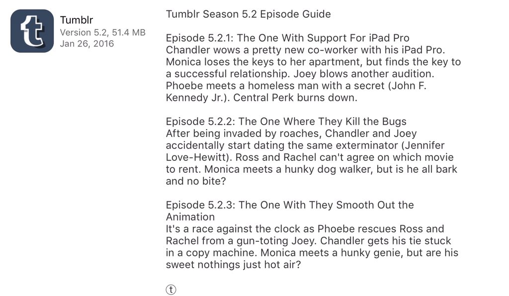 The one where app updates amuses me. Thanks @tumblr https://t.co/yfkFoUkF9t