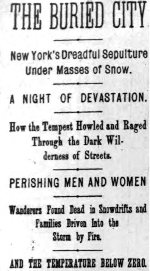 In case you think weather news is melodramatic now, here are headlines from the Blizzard of 1888. https://t.co/GHeORWdHeZ