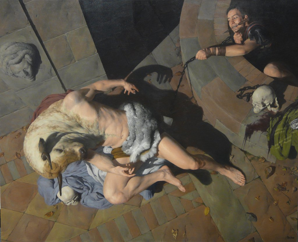An older piece from 2009. 'Theseus & Minotaur', Oil on Canvas, 130 x 105cm  https://t.co/sJTRF7bW0E https://t.co/aXcgyhcmoB