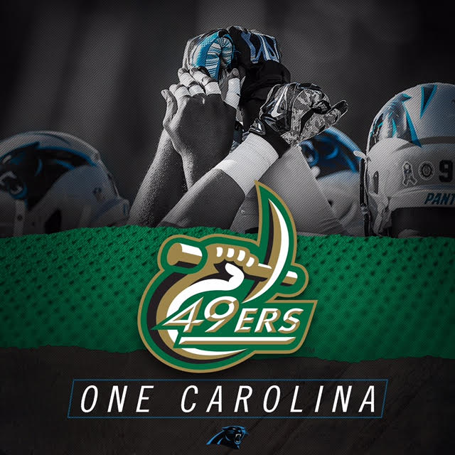 Good luck tmrw @Panthers - #KeepPounding toward Super Bowl 50! You have the support of #NinerNation! #onecarolina https://t.co/R131sVyHHE