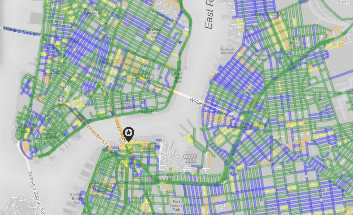 This real-time map of street plowing in NYC is a pretty great use of civic data. https://t.co/M7Avv8kbA0 https://t.co/AsOHu15ni7