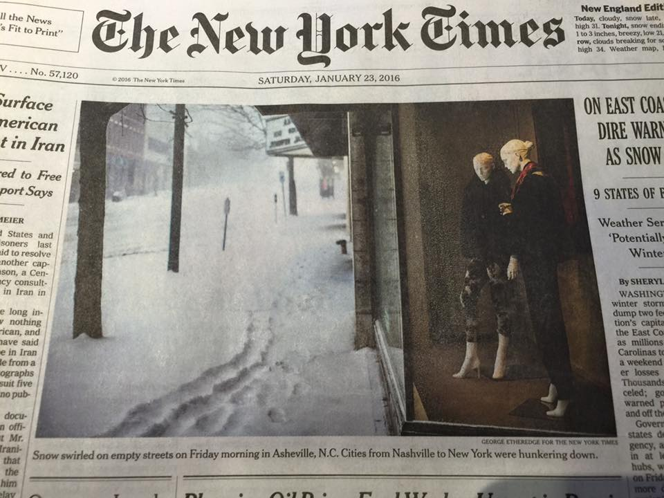 With a little help from #Jonas2016, Asheville was on this morning's @NYTimes cover https://t.co/k2dPqIlqIU #avlnews https://t.co/c9OiiWj4Km