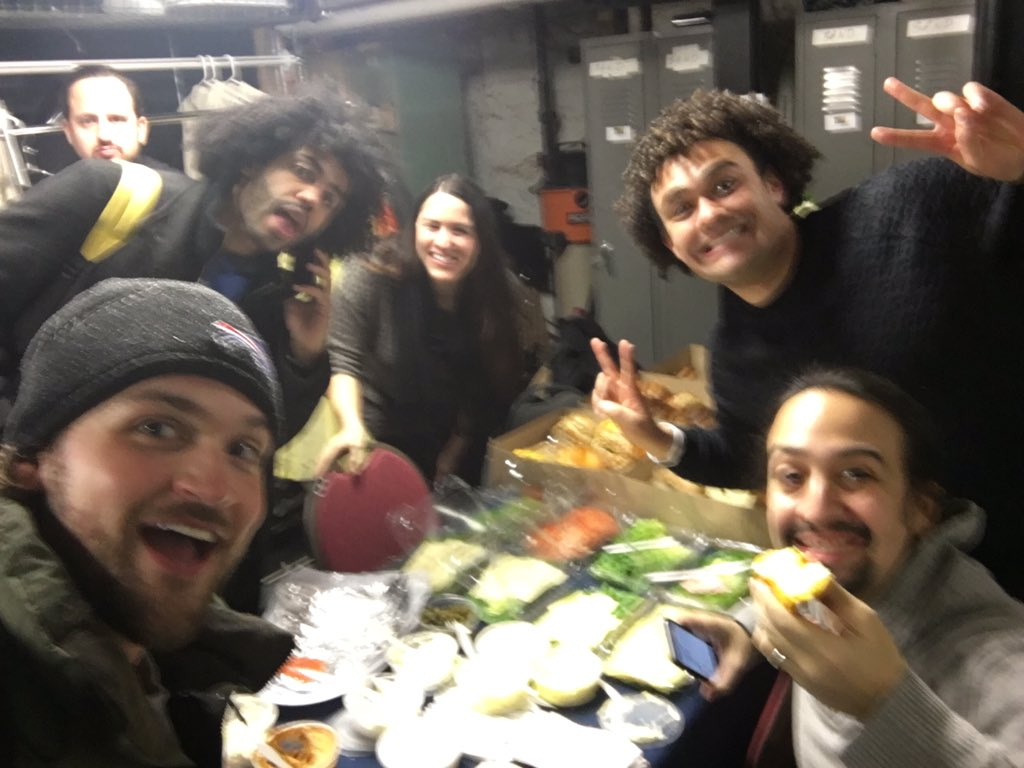 Hamilton shows are cancelled today. We're all just here for the free food now. @Lin_Manuel @Achapphawk @DaveedDiggs https://t.co/f9RPYuGnxK