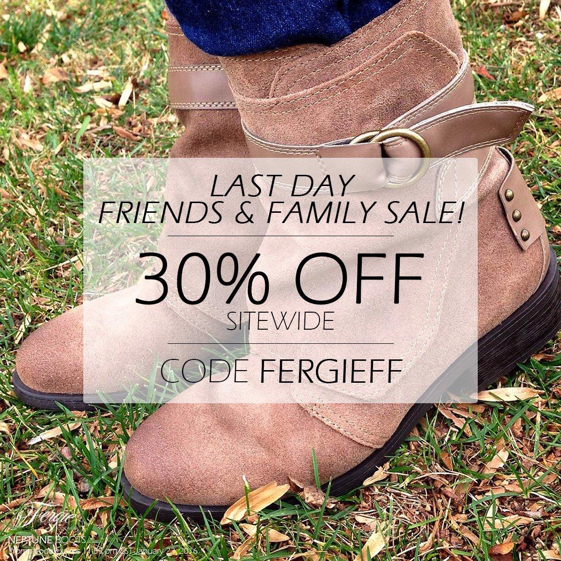 RT @FergieFootwear: #LastDay! Take 30% OFF during the @Fergie #FriendsAndFamily #ShoeSale w/ #promocode FERGIEFF!https://t.co/YYKsJG8ljr ht…