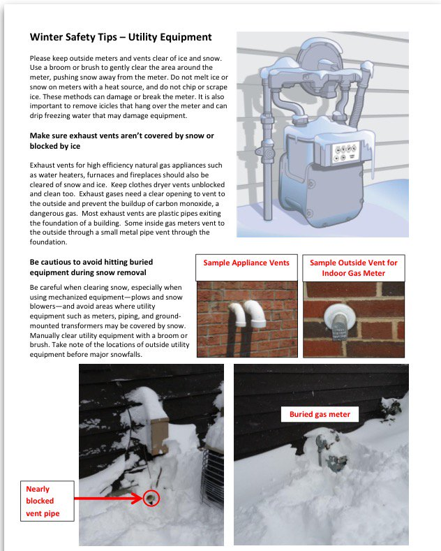 Keep outside meters and vents clear of snow. See more Winter Safety Tips for Equipment #WinterTips #SafetyFirst https://t.co/NAbJARykZ6