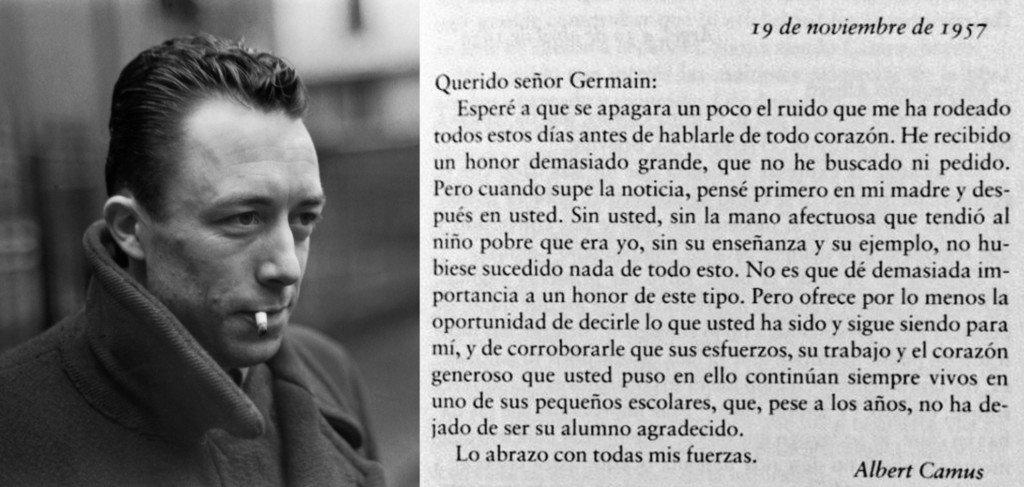 Ésta es la carta que Camus escribió a su profesor de colegio tras ganar el Nobel de Literatura. :-O https://t.co/6TOOE7mrjk