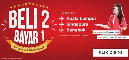 Terbang ke Singapura, KL, Bangkok, Perth & lainnya: Beli 2 Bayar 1!  Mudah banget, klik