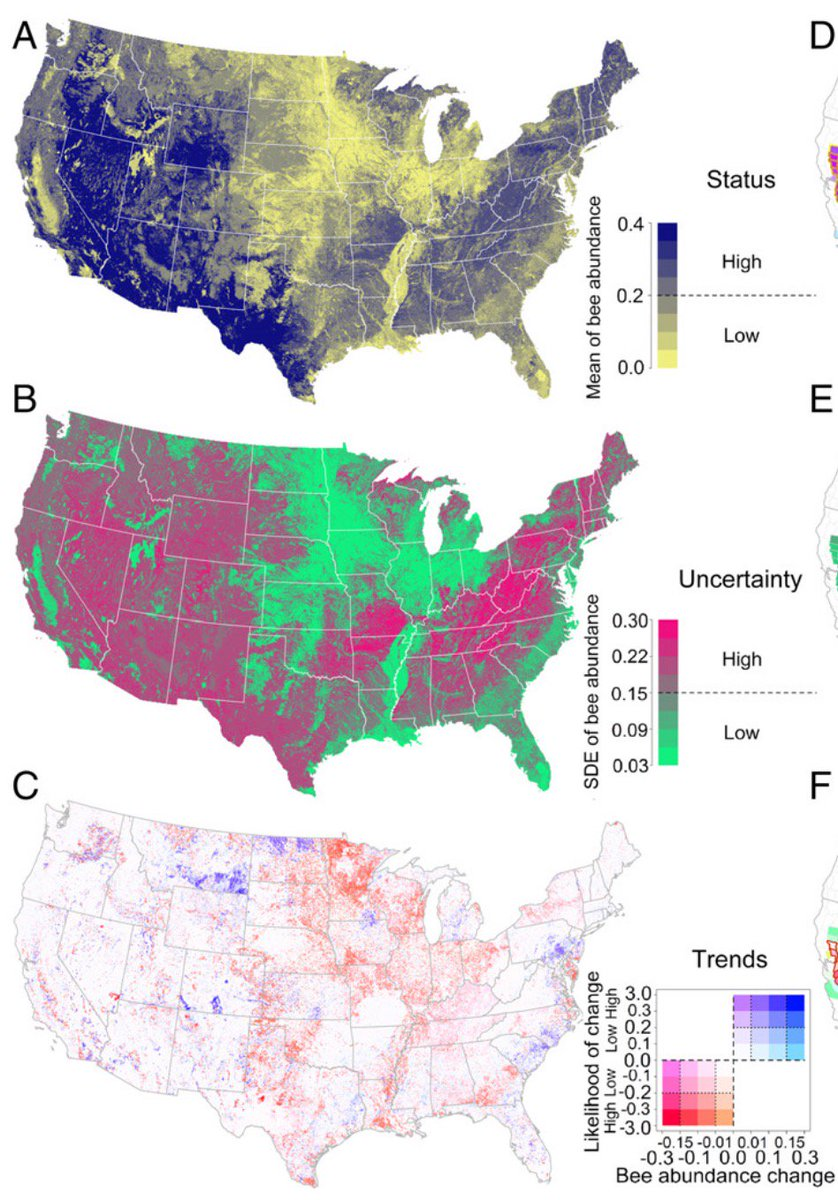 A snapshot of U.S. wild #bee population trends. The heartland is a wasteland.  https://t.co/jQ70uZKS6b https://t.co/RzkmrKo7mP