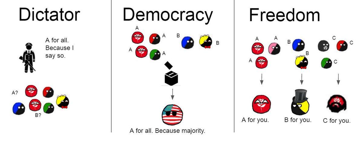 Dictatorship - Democracy - Freedom @Anarchyball @Beautyon_ https://t.co/yzmAfBjD62