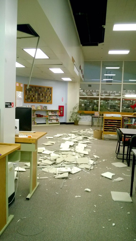We are doing safety checks at every school today. So far, damage has been minimal. This is Romig library. #akquake https://t.co/QPRnRJsp3k