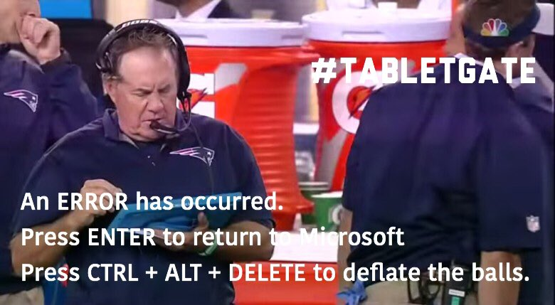 Don't worry the tablets crashing allows the @Patriots to unleash their secret weapon #TabletGate #NEvsDEN https://t.co/u4dSeq03H5