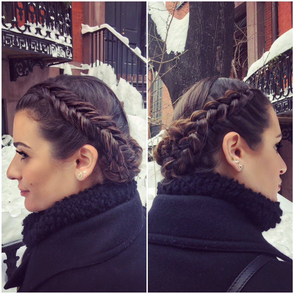 Braided beauty! Today's look I did on @msleamichele fishtail + a #frenchbraid! #braidedupdo ❤️ #NYC #snowday #hair https://t.co/6CqaGLYaBj