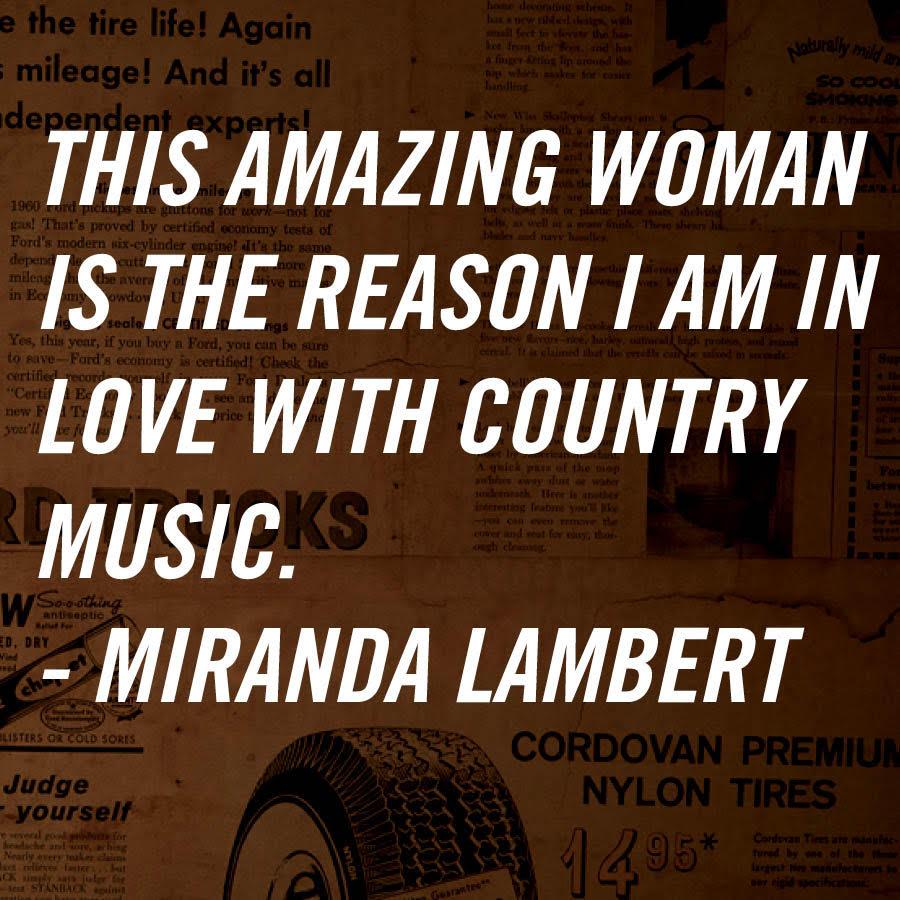 .@mirandalambert on Loretta. RT if Loretta is the reason why you love Country Music! #Loretta360 https://t.co/3mz1Rq8h9K