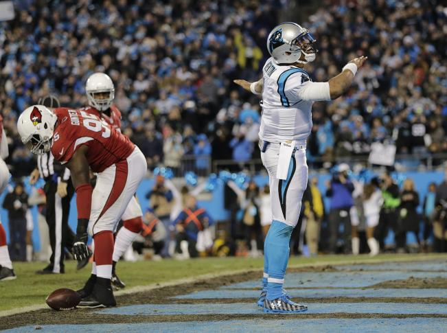 #LUUUUKE with Pick-6. @Panthers are 5:11 from a trip to Santa Clara. Up 49-15 #KeepPounding https://t.co/nlGw60xSxy https://t.co/1R4YUaJBRz