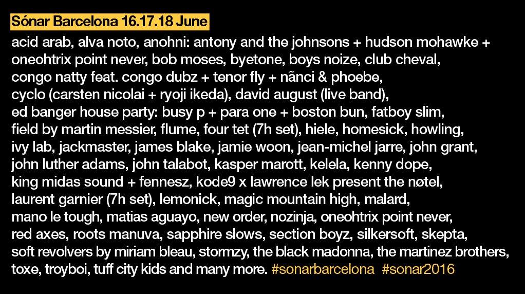 Sónar 2016 just got even bigger #sonarbarcelona #roadtosonar https://t.co/M6K80GQqcM